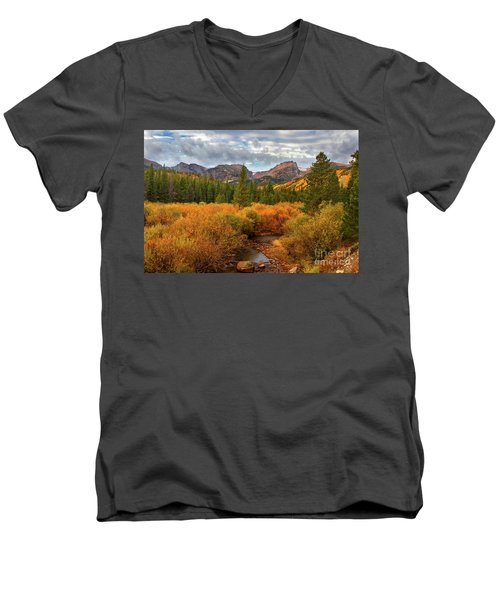 Fall In Rocky Mountain National Park Men's V-Neck T-Shirt by Ronda Kimbrow