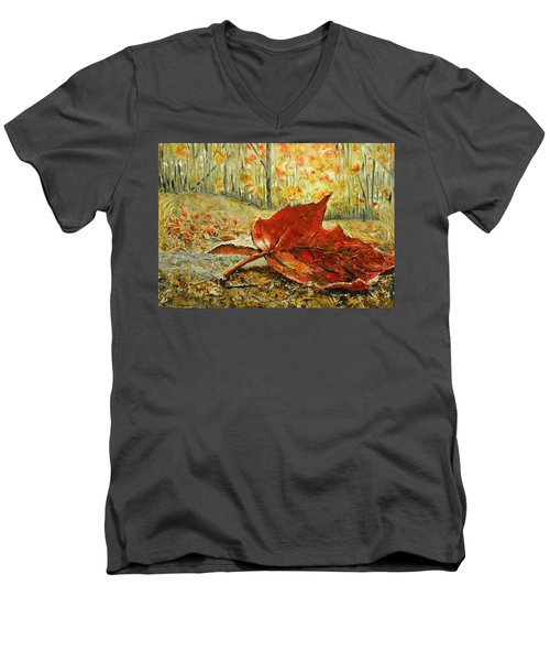 Fallen Leaf  Men's V-Neck T-Shirt by Betty-Anne McDonald