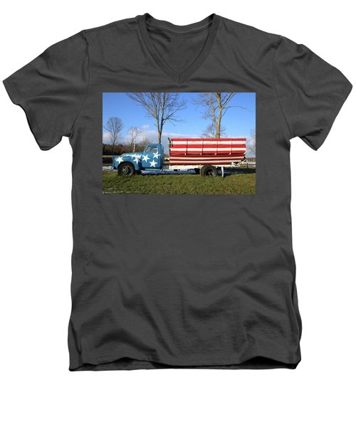 Farm Truck Wading River New York Men's V-Neck T-Shirt