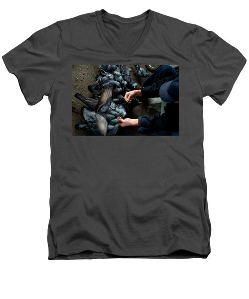 Feeding The Pigeons Men's V-Neck T-Shirt by James David Phenicie