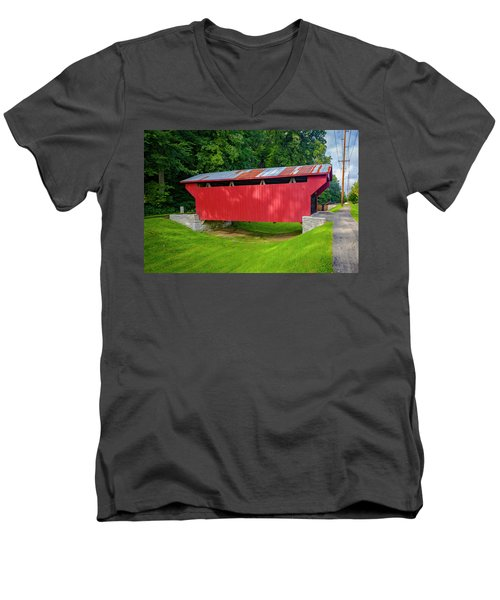 Feedwire Covered Bridge - Carillon Park Dayton Ohio Men's V-Neck T-Shirt