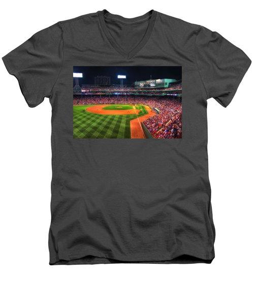 Fenway Park At Night - Boston Men's V-Neck T-Shirt by Joann Vitali