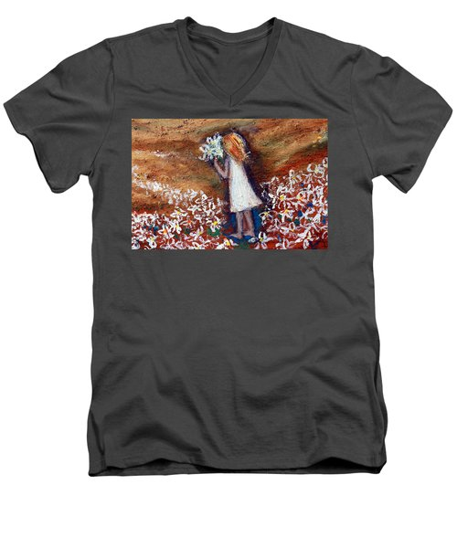 Men's V-Neck T-Shirt featuring the painting Field Of Flowers by Winsome Gunning