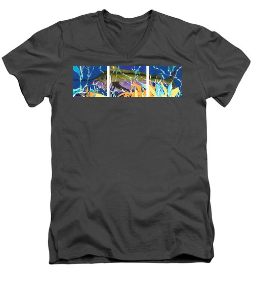 Men's V-Neck T-Shirt featuring the mixed media Fiesta by Andrew Drozdowicz