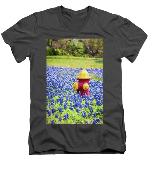 Fire Hydrant In The Bluebonnets Men's V-Neck T-Shirt