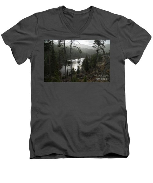 Firehole River In Yellowstone Men's V-Neck T-Shirt by Cindy Murphy - NightVisions