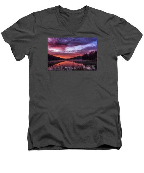 First Light On The Lake Men's V-Neck T-Shirt by Thomas R Fletcher