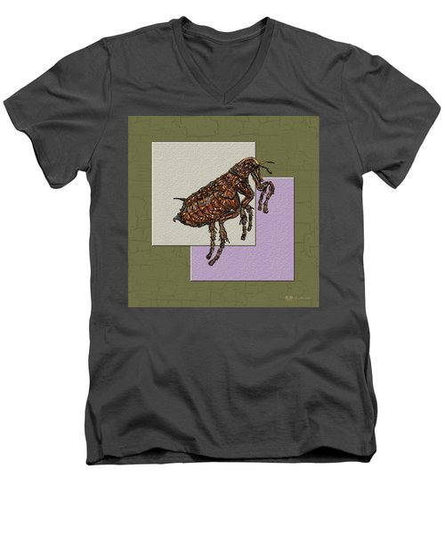 Flea On Abstract Beige Lavender And Dark Khaki Men's V-Neck T-Shirt by Serge Averbukh
