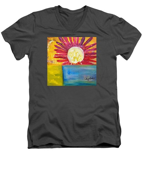 Men's V-Neck T-Shirt featuring the painting Floral by Evelina Popilian