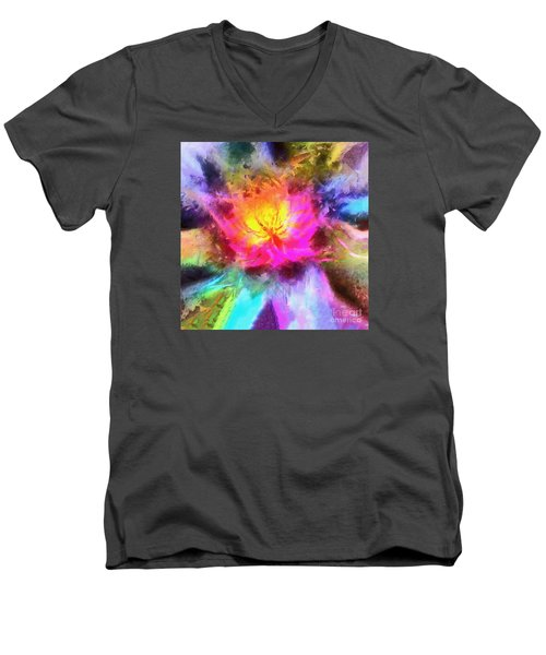Men's V-Neck T-Shirt featuring the photograph Floral Mandala 01 by Jack Torcello