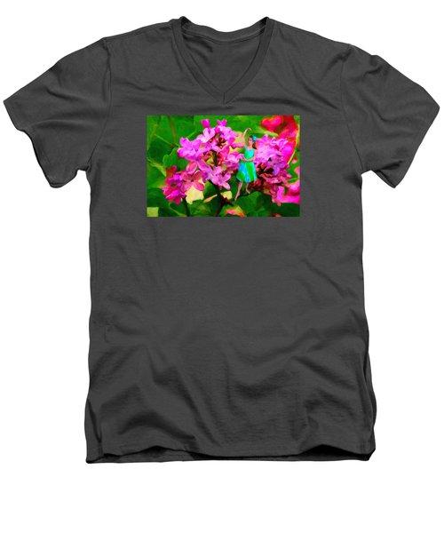 Flower Fairy  Men's V-Neck T-Shirt by Andre Faubert