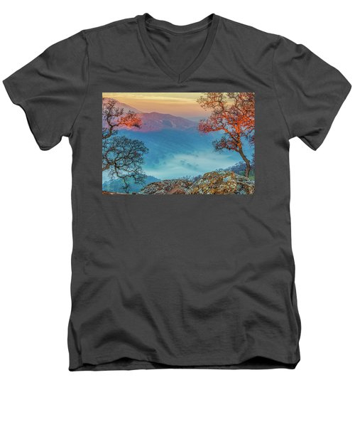 Fog In The Valley Men's V-Neck T-Shirt by Marc Crumpler