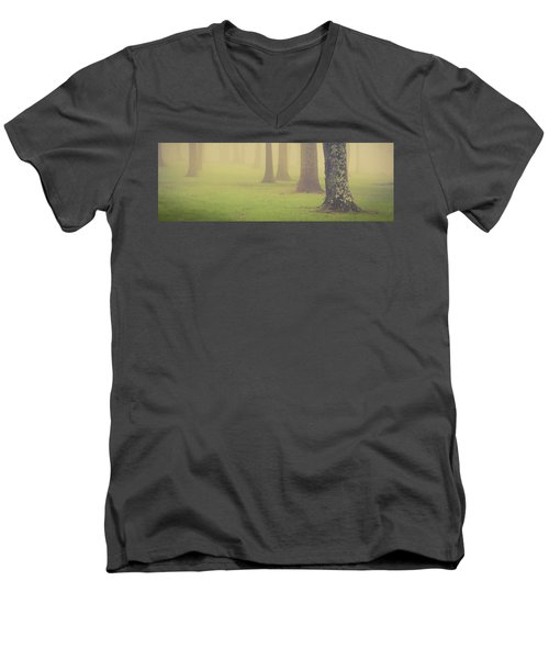 Men's V-Neck T-Shirt featuring the photograph Foggy Trees Pano by Joye Ardyn Durham