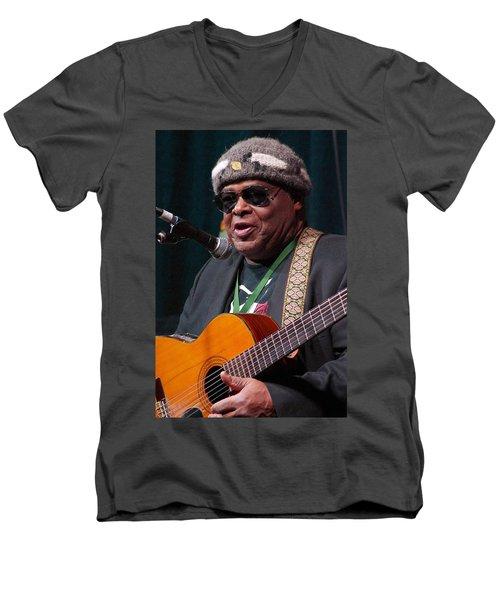 Men's V-Neck T-Shirt featuring the digital art Folk Alliance 2014 by Jim Mathis