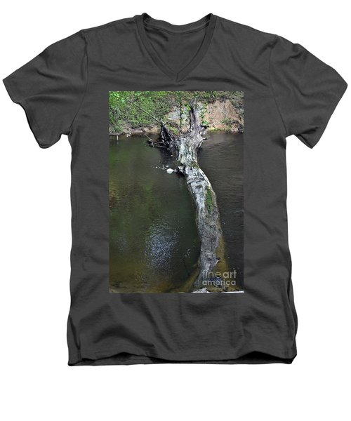 Men's V-Neck T-Shirt featuring the photograph Footbridge by Skip Willits