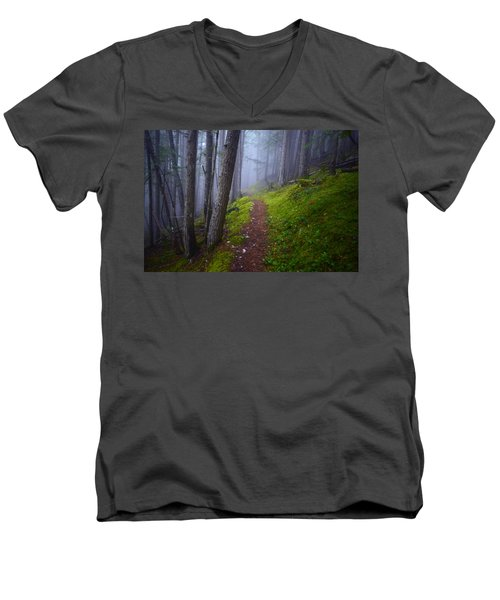 Men's V-Neck T-Shirt featuring the photograph Forest Mysteries by Tara Turner