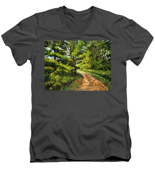 Forest Pathway Men's V-Neck T-Shirt by Alexandra Maria Ethlyn Cheshire
