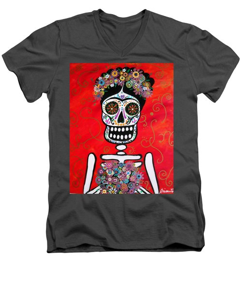 Frida Dia De Los Muertos Men's V-Neck T-Shirt by Pristine Cartera Turkus