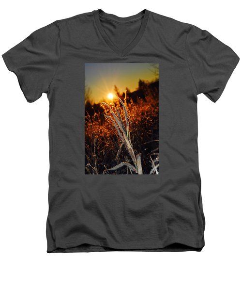Men's V-Neck T-Shirt featuring the photograph Frosty Sunrise by Dacia Doroff