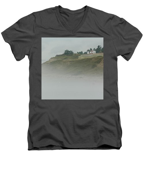 Ft. Casey Lighthouse Men's V-Neck T-Shirt by Tony Locke