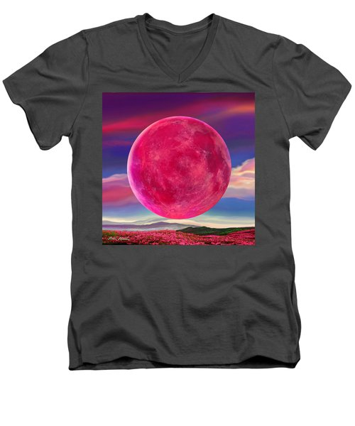 Men's V-Neck T-Shirt featuring the digital art Full Pink Moon by Robin Moline