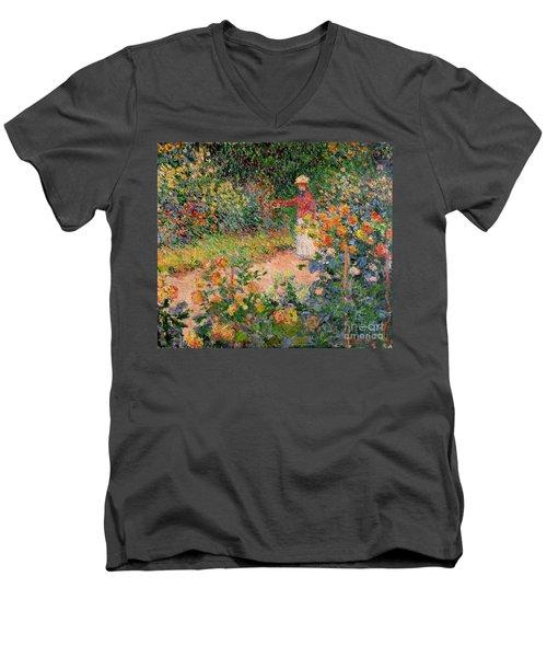 Garden At Giverny Men's V-Neck T-Shirt