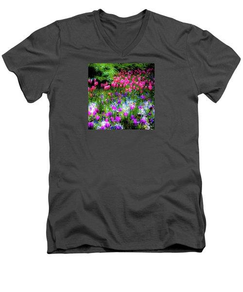 Garden Flowers With Tulips Men's V-Neck T-Shirt