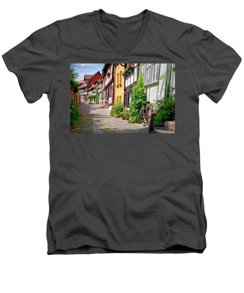 German Old Village Quedlinburg Men's V-Neck T-Shirt