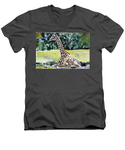 Men's V-Neck T-Shirt featuring the painting Giraffe by Kovacs Anna Brigitta