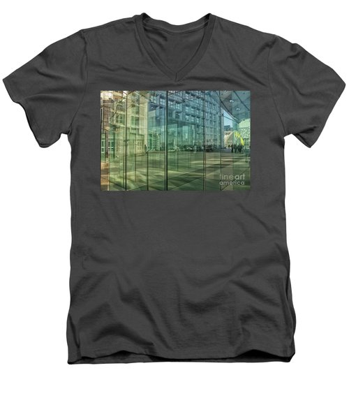 Men's V-Neck T-Shirt featuring the photograph Glass Panels At Le Grande Arche by Patricia Hofmeester