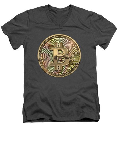 Gold Bitcoin Effigy Over Red Canvas Men's V-Neck T-Shirt