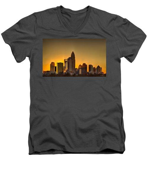 Golden Charlotte Skyline Men's V-Neck T-Shirt by Alex Grichenko