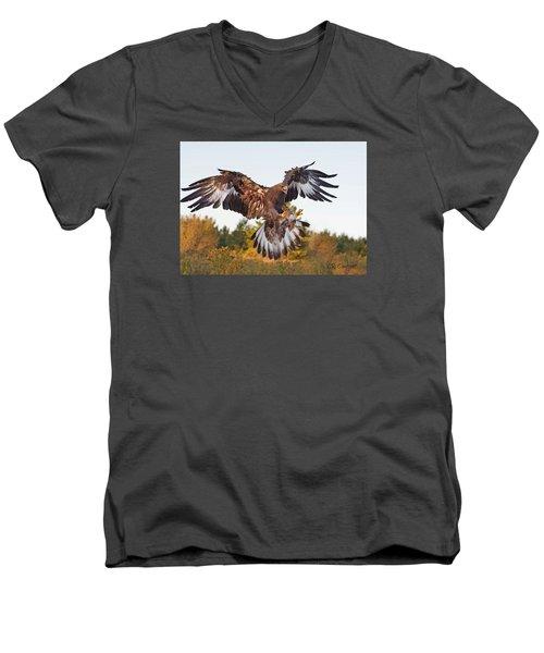 Golden Eagle Men's V-Neck T-Shirt by CR  Courson