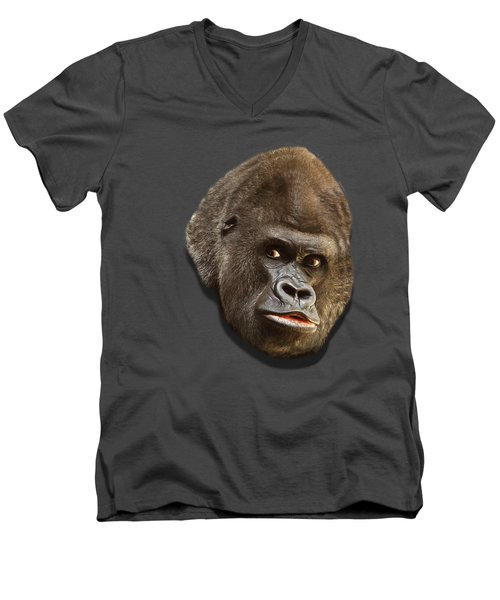 Gorilla Men's V-Neck T-Shirt by Ericamaxine Price