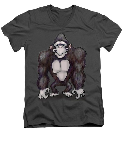 Gorilla Men's V-Neck T-Shirt by Kevin Middleton