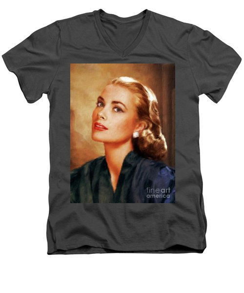 Grace Kelly, Actress And Princess Men's V-Neck T-Shirt by Mary Bassett