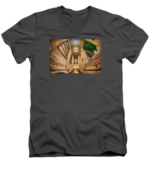 Men's V-Neck T-Shirt featuring the photograph Grand Central Terminal Underpass by Rafael Quirindongo