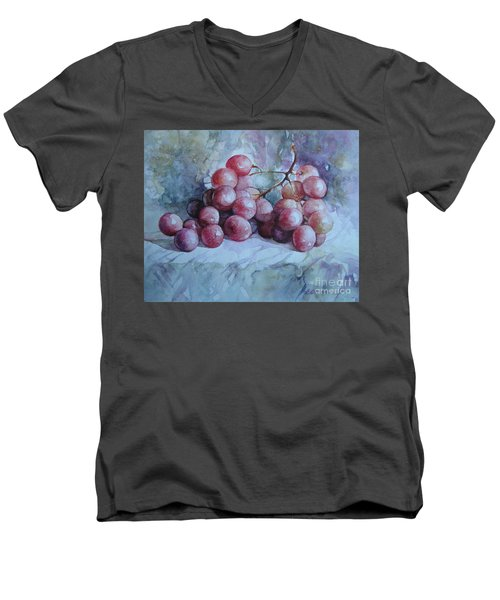 Men's V-Neck T-Shirt featuring the painting Grapes... by Elena Oleniuc