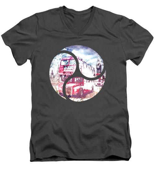 Graphic Art London Westminster Bridge Streetscene Men's V-Neck T-Shirt by Melanie Viola