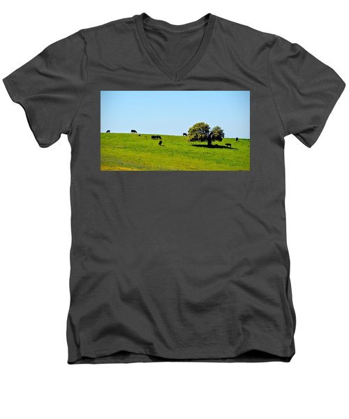 Men's V-Neck T-Shirt featuring the photograph Grazing In The Grass by AJ Schibig