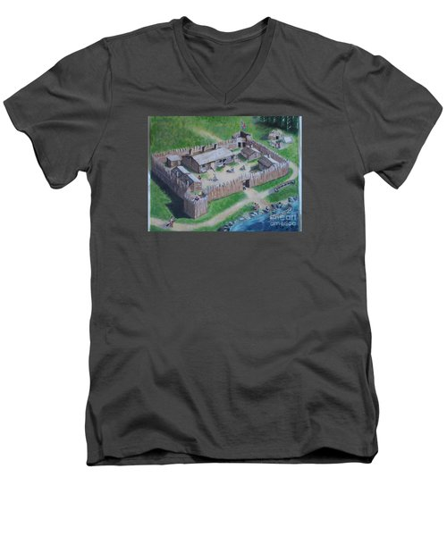 Great Lakes North Trading Post Men's V-Neck T-Shirt by Francine Heykoop
