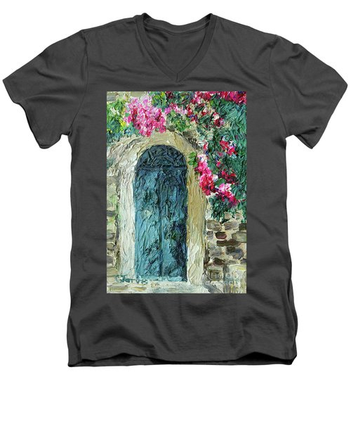 Green Italian Door With Flowers Men's V-Neck T-Shirt