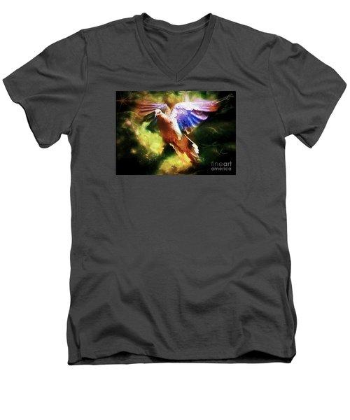 Guardian Angel Men's V-Neck T-Shirt by Tina  LeCour