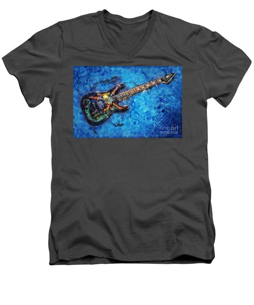 Guitar Love Men's V-Neck T-Shirt by Ian Mitchell
