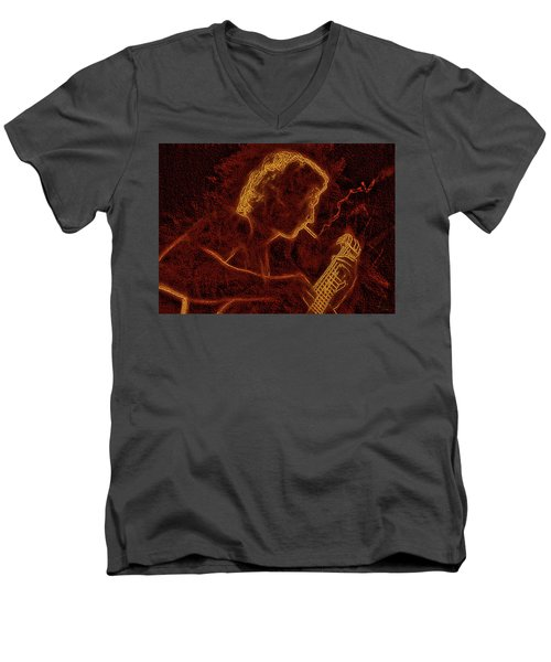 Guitar Player Men's V-Neck T-Shirt by Alex Galkin
