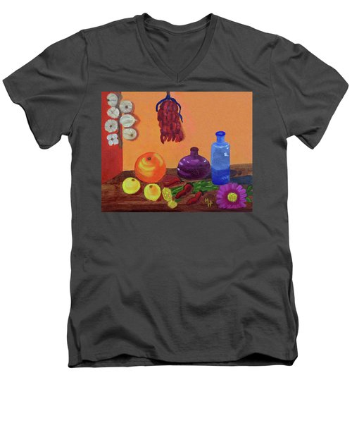 Men's V-Neck T-Shirt featuring the painting Hanging Around With Spices by Margaret Harmon