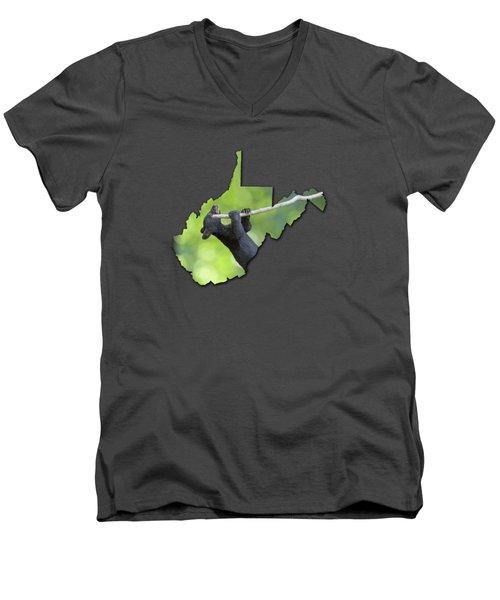 Hanging On Men's V-Neck T-Shirt by Dan Friend