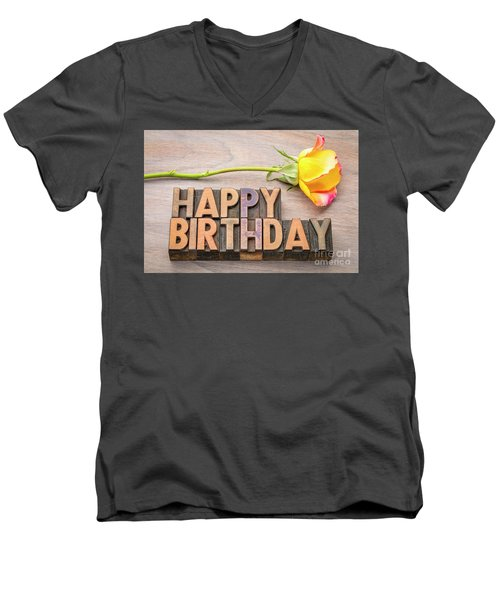 Happy Birthday Greetings In Wood Type Men's V-Neck T-Shirt