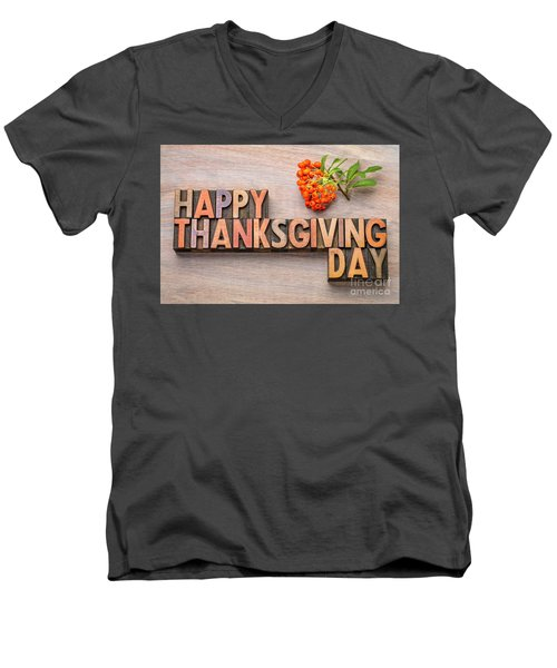 Happy Thanksgiving Day In Wood Type Men's V-Neck T-Shirt