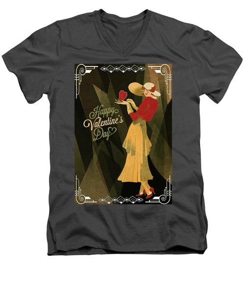 Men's V-Neck T-Shirt featuring the digital art Happy Valentines Day by Jeff Burgess
